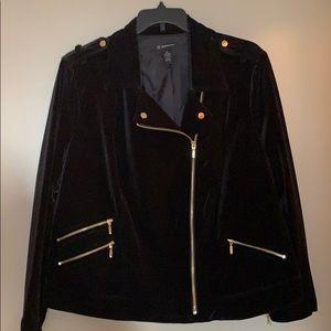 Black velvet jacket.